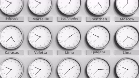 lima : Clock shows Lima, Peru time among different timezones. 3D animation
