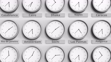 within : Round clock showing Sochi, Russia time within world time zones. 3D animation