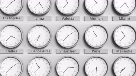 разница : Round clock showing Shenzhen, China time within world time zones. 3D animation Стоковые видеозаписи
