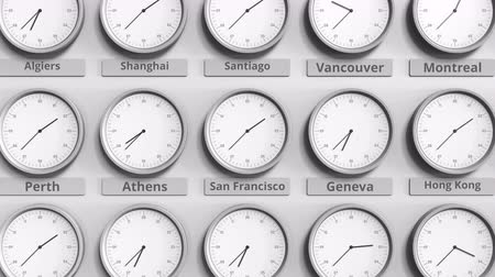 ofset : Round clock showing San francisco, USA time within world time zones. 3D animation Dostupné videozáznamy