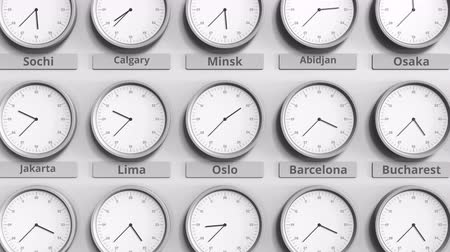 ofset : Round clock showing Oslo, Norway time within world time zones. 3D animation