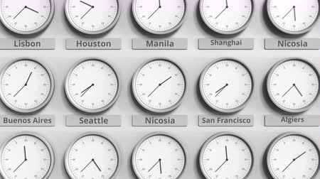 minute : Round clock showing Nicosia, Cyprus time within world time zones. 3D animation