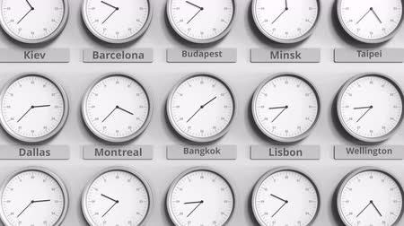 разница : Clock shows Bangkok, Thailand time among different timezones. 3D animation