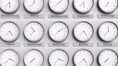 ofset : Focus on the clock showing Helsinki, Finland time. 3D animation Dostupné videozáznamy