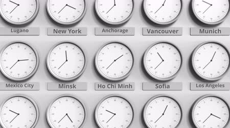 within : Round clock showing Ho chi minh, Vietnam time within world time zones. 3D animation
