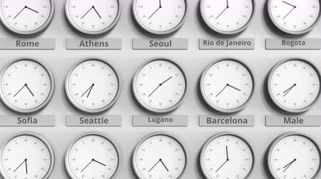 ofset : Focus on the clock showing Lugano, Switzerland time. 3D animation