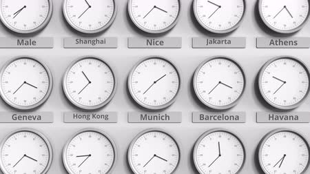 within : Round clock showing Munich, Germany time within world time zones. 3D animation