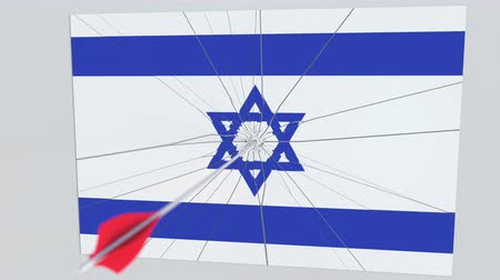 destruir : Flag of ISRAEL plate being hit by archery arrow. Conceptual 3D animation