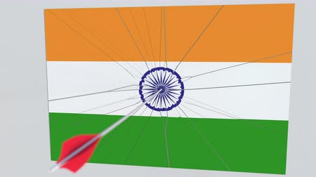 sertés : Flag of INDIA plate being hit by archery arrow. Conceptual 3D animation Stock mozgókép