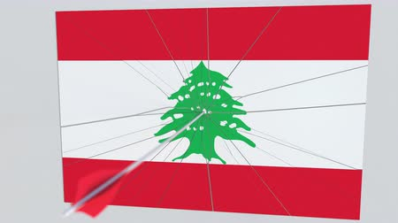 tiro com arco : Archery arrow hits flag of LEBANON plate. National security breach related 3D animation Stock Footage