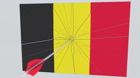 tiro com arco : Flag of BELGIUM plate being hit by archery arrow. Conceptual 3D animation Stock Footage