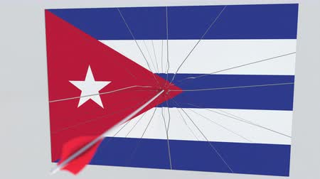 tiro com arco : Flag of CUBA plate being hit by archery arrow. Conceptual 3D animation