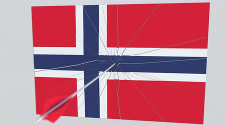 tiro com arco : Flag of NORWAY plate being hit by archery arrow. Conceptual 3D animation