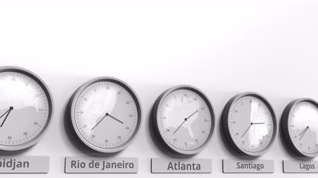 within : Round clock showing Atlanta, USA time within world time zones. Conceptual 3D animation Stock Footage