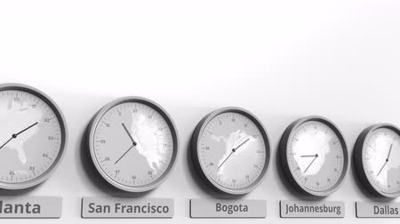 bogota : Focus on the clock showing Bogota, Colombia time. Conceptual 3D animation