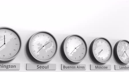 aires : Clock shows Buenos Aires, Argentina time among different timezones. Conceptual 3D animation Stock Footage