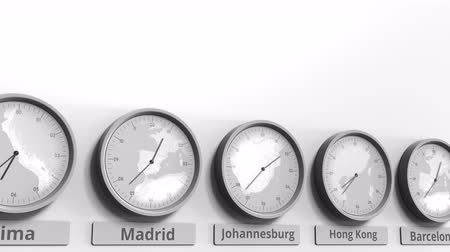 período : Round clock showing Johannesburg, South Africa time within world time zones. Conceptual 3D animation