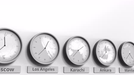 ofset : Round clock showing Karachi, Pakistan time within world time zones. Conceptual 3D animation