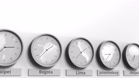 lima : Clock shows Lima, Peru time among different timezones. Conceptual 3D animation