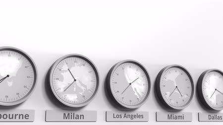 ofset : Round clock showing Los Angeles, USA time within world time zones. Conceptual 3D animation