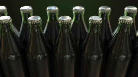 identical : Line of closed green bottles with beer or mineral water, loopable animation