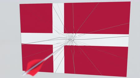tiro com arco : Archery arrow hits flag of DENMARK plate. Conceptual 3D animation