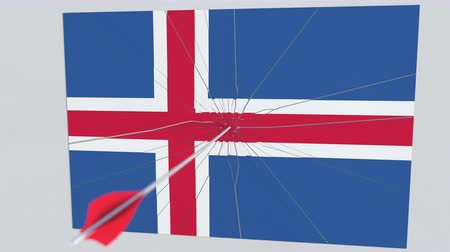 tiro com arco : Archery arrow hits flag of ICELAND plate. National security breach related 3D animation Stock Footage