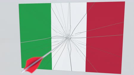 sertés : Archery arrow hits flag of ITALY plate. National security breach related 3D animation