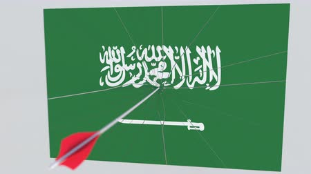 tiro com arco : Archery arrow breaks plate featuring flag of SAUDI ARABIA. 3D animation