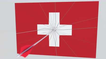tiro com arco : Flag of SWITZERLAND plate being hit by archery arrow. Conceptual 3D animation