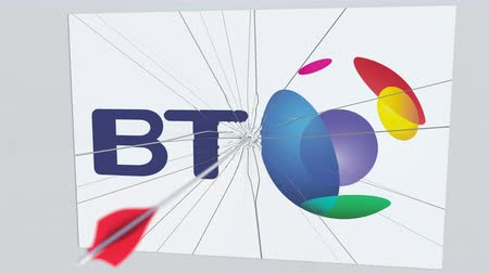 criticism : BRITISH TELECOM company logo being hit by archery arrow. Business crisis conceptual editorial animation