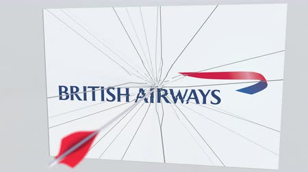 culpa : Archery arrow hits plate with BRITISH AIRWAYS logo. Corporate problems conceptual editorial animation