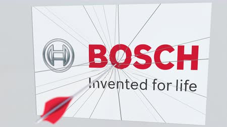 criticism : Archery arrow breaks glass plate with BOSCH company logo. Business issue conceptual editorial animation