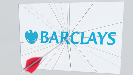 tiro com arco : Archery arrow breaks glass plate with BARCLAYS company logo. Business issue conceptual editorial animation