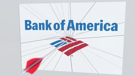 боа : BANK OF AMERICA company logo being cracked by archery arrow. Corporate problems conceptual editorial animation
