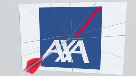 hiba : AXA company logo being hit by archery arrow. Business crisis conceptual editorial animation
