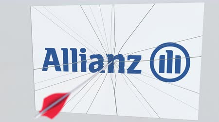 criticism : Archery arrow hits plate with ALLIANZ logo. Corporate problems conceptual editorial animation Stock Footage
