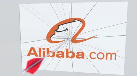 criticism : Archery arrow breaks glass plate with ALIBABA company logo. Business issue conceptual editorial animation Stock Footage