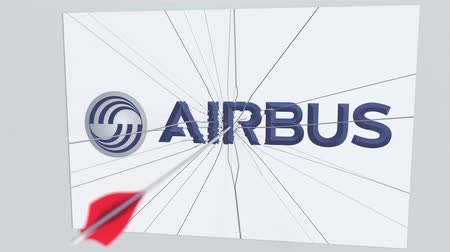tiro com arco : Archery arrow breaks glass plate with AIRBUS company logo. Business issue conceptual editorial animation