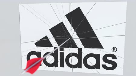 criticism : Archery arrow hits plate with ADIDAS logo. Corporate problems conceptual editorial animation