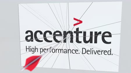 criticism : ACCENTURE company logo being cracked by archery arrow. Corporate problems conceptual editorial animation