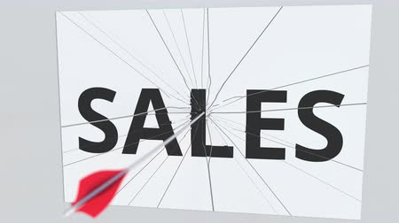 destruir : SALES text plate being hit by archery arrow. Conceptual 3D animation