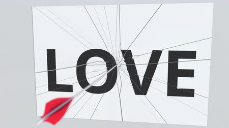 destruir : LOVE text plate being hit by archery arrow. Conceptual 3D animation Vídeos