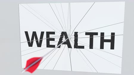 aim : Archery arrow hits glass plate with WEALTH text. Conceptual 3D animation Stock Footage