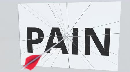 tiro com arco : Archery arrow hits glass plate with PAIN text. Conceptual 3D animation