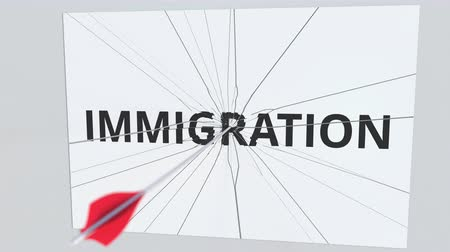 çözme : IMMIGRATION text plate being hit by archery arrow. Conceptual 3D animation