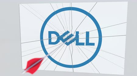 criticism : DELL company logo being hit by archery arrow. Business crisis conceptual editorial animation