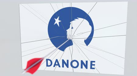 culpa : Archery arrow breaks glass plate with DANONE company logo. Business issue conceptual editorial animation Vídeos