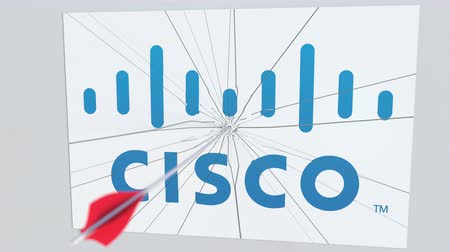 criticism : Archery arrow breaks glass plate with CISCO company logo. Business issue conceptual editorial animation
