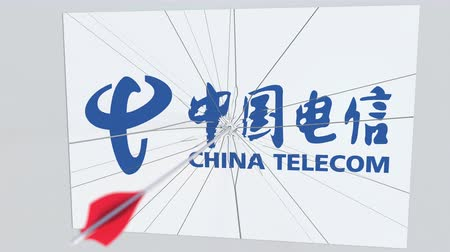 criticism : Archery arrow breaks glass plate with CHINA TELECOM company logo. Business issue conceptual editorial animation